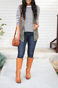 Striped tee and Utility Vest with Riding Boots Outfit details Casual Outfits For Teens, Casual Winter Outfits, Spring Outfits, Cute Outfits, Vest Outfits, Winter Outfit For Teen Girls, Utility Vest, Striped Tee, Riding Boots