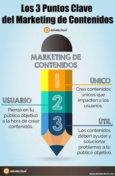 Hola: Una infografía con 3 puntos clave del Marketing de Contenidos. Vía Un saludo