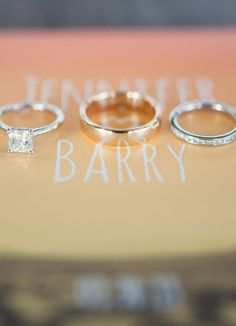 A beautiful trio of wedding rings from a real wedding in Palm Springs, CA! See it now! // Sun & Sparrow Photography