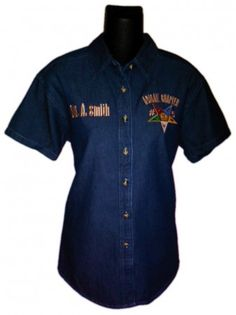 I checked out Eastern Star Blue Jean/Denim Button Up Shirt on Lish, $39.95 USD