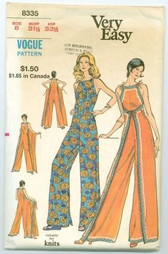 Sewing Inspiration ::: Vogue ca. Misses' Lounge Jumpsuit. Loose-fitting, front or back wrapped jumpsuit has self ties and optional rick-rack trim. Featured in Vogue Patterns Leaflet July 1972 Diy Clothing, Sewing Clothes, Clothing Patterns, Dress Patterns, Sewing Pants, Shirt Patterns, Dress Sewing, Barbie Clothes, Wrap Pants