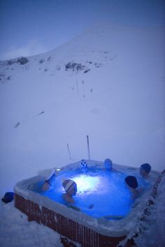People enjoyed the hot tub at the Igloo Hotel in Oberstdorf, Germany.