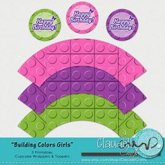 Building Colors Girls Inspired Printable Cupcake by ClaudellCrafts