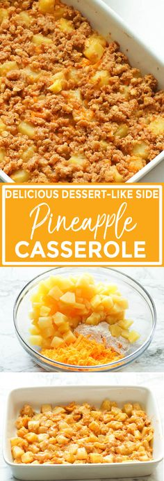 Pineapple Casserole - Immaculate Bites Ritz Crackers, Butter Crackers, Easy Pineapple Casserole Recipe, Pineapple Recipes, Fruit Recipes, Drink Recipes, Delicious Recipes, Baking Recipes, Side Dishes For Ham