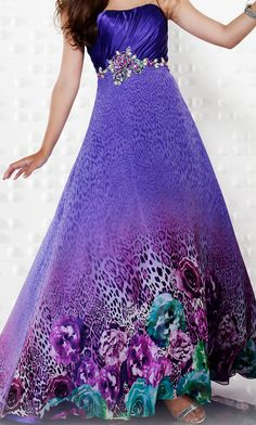 Full length strapless print formal gown by Riva