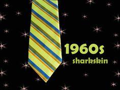 Men's Vintage Sharkskin Necktie - 1960s Iridescent Chartreuse Striped Tie - 60s…