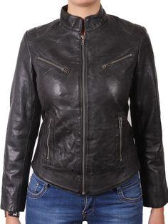 Women Stylish slim fit front zip Lambskin Bomber Biker leather jacket WJ322 #Handmade #BasicJacket
