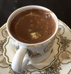 This is what a real coffee looks like. Turkish coffee!