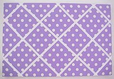 """Fabric Cork Bulletin Boards. Purple with Whitie crisscross message ribbons, 16"""" x 24"""", $54.19,  OR,  Your choice of over 1000 fabrics; four standard sizes and custom; with or without message ribbons; and lots more at www.PushPinsAndFabricCorkBoards.com ; subcategory PURPLE.   Also matching DECORATIVE PUSH PINS. #fabriccorkbulletinboards #decorativepushpins #fabricwallart  #interior designers  #purple"""
