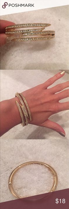 Gold & Rhinestone Pavé Bangle w Clasp Brand new without tags. Brand is Charter Club. From Macy's.  Has hinge to take on and off Charter Club Jewelry Bracelets