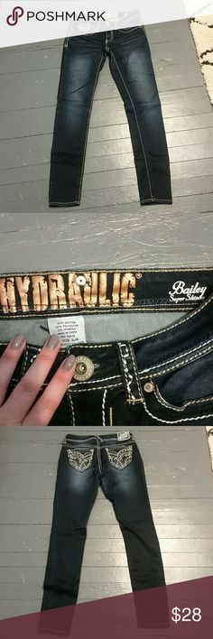Hydraulic Dark Wash Super Skinny Jeans Like new. Dark wash super skinny jean. Super cute stitching on the back pockets. Reasonable offers always considered. Hydraulic Jeans Skinny
