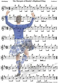 Piping score for the Highland fling dance. Absolutely horrible Photoshop, but awesome idea!