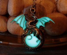 Glow In The Dark Dragon Surrounding The Moon Necklace