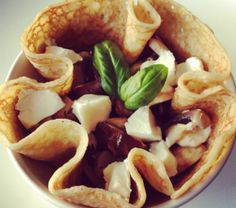 stuffed buckweat pancakes with spinach, goat cheese and dates.