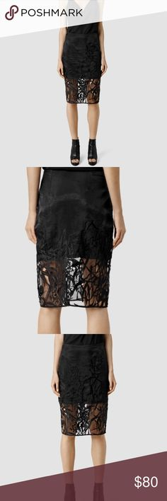 NWT all saints skirt Brand new never work beautiful all saints skirt. Partially lined. Super lux look. Very flattering All Saints Skirts