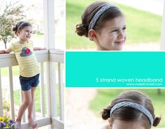 5 strand woven headband tutorial with lots of pictures Braid Headband Tutorial, Diy Headband, Knitted Headband, Stretchy Headbands, Cute Headbands, Braided Headbands, Bandanas, Braided T Shirts, Five Strand Braids