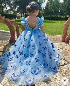 Gowns For Girls, Little Girl Dresses, Girls Dresses, Blue Dresses For Kids, Dresses Dresses, Fall Dresses, Long Dresses, Dress Long, Flower Girls