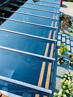 Zadaszenie tarasu ze szkła / Zakład Stolarski Poznań Solar Panels, Pergola, Outdoor Decor, Diy, Sun Panels, Solar Power Panels, Outdoor Pergola
