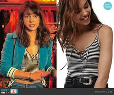 Sophia's striped lace-up top and blue jacket on Girlboss.  Outfit Details: https://wornontv.net/70126/ #Girlboss