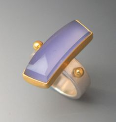 Diane West - blue chalcedony, 22k gold, sterling silver