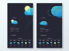 Weather App UI design by Catherina Tsai