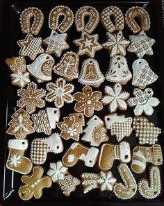 Obrázek z Recept - Medovníčky ktoré se neroztékajú Christmas Sweets, Christmas Gingerbread, Christmas Cooking, Christmas Decorations, Xmas, Horse Treats, Gingerbread Man Cookies, Cookie Decorating, Diy And Crafts