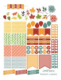 PRINTABLE Erin Condren Planner Autumn Weekly Kit by JWPlans