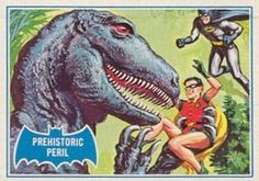 Prehistoric Peril, Topps Batman card: by Norman Saunders