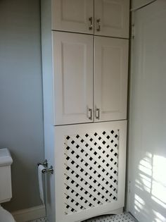 Cabinet with custom radiator cover Haute Indoor Couture: Dad's Bathroom Renovation