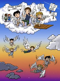 Gabriel had doubted that Balthazar and Castiel would be suitable flying partners, since Balthazar's first instinct was to dive head-first off a cloud and Castiel pretty much had to be pushed off, b...
