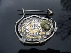 Forged sterling silver fibula brooch