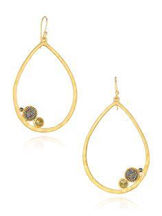 Sun & Moon Pyrite Hoop Earrings by Satya at Gilt