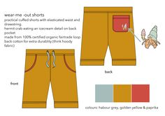 wear me out shorts organic fair trade loop-backed cotton jersey Fair Trade, Bermuda Shorts, Product Launch, Organic, Hoodies, Yellow, Fabric, Cotton, Kids