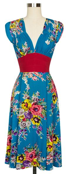 The classic Trashy Diva 1940's Dress in Turquoise Floral is back by popular demand!
