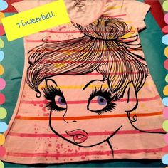 Logo Graphic Tinkerbell Striped V-neck Shirt Adorable! New with tags :) PET FREE SMOKE FREE HOME Disney Tops Tees - Short Sleeve