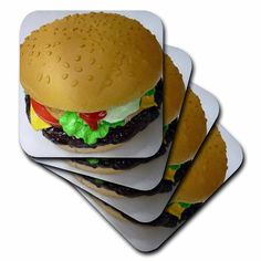 3dRose cst_17846_2 Everyone Loves a Burger-Soft Coasters, Set of 8 >>> More info could be found at the image url.