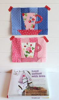cute teacup quilt squares: PamKittyMorning