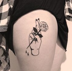 A Rose in Hand Small Tattoo