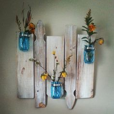 Repurposed Barnwood And Picket-fence Mason Jar Wall Mount
