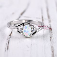 White Opal Ring Silver Lab Opal Ring Opal Wedding Band