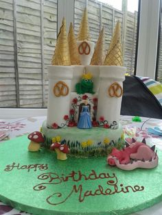 Madeline's fairytale castle cake. Ice cream cone towers, gold shimmer spray, pretzels and sugar paste over chocolate cake :-)