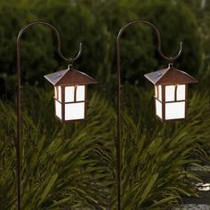 Shop for Set of 2 Pagoda Solar Lanterns with Metal Shepherd Hooks. Get free delivery On EVERYTHING* Overstock - Your Online Outdoor Lighting Store! Bollard Lighting, Pathway Lighting, Outdoor Lighting, Outdoor Decor, Lighting Ideas, Outdoor Landscaping, Outdoor Projects, Outdoor Ideas, Solar Hanging Lanterns