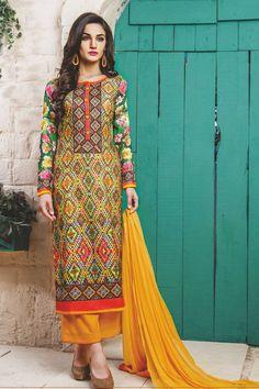 stylish funcional wear pasmina digital print yellow dress