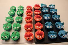 PJ Mask cupcakes Pj Mask Cupcakes, How To Make Cake, Sugar, Cookies, Desserts, Food, Biscuits, Deserts, Cookie Recipes