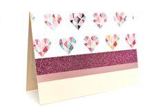Geometric Valentine Card Pastel Handmade Card by AmeliaRyCreations