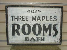 antique trade signs | ... OLD-ORIGINAL-TOURIST-ROOMS-BATH-TRADE-SIGN-ANTIQUE-PRIMITIVE-FOLK-ART