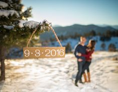 Mount Falcon Park Winter Engagement Session Sign in Tree Save the Date