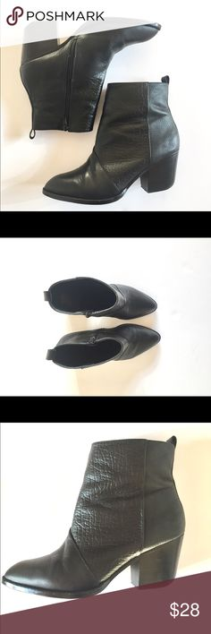 """Black bootie size 9 Black bootie in size 9. Fits true to size. Comfortable height, approximately 2 1/2"""" heel. Materials aren't listed but guessing vegan leather. Textured look with I like because it hide any creasing. Worn a handful of times so overall good condition. Smoke free home. Shoemint Shoes Ankle Boots & Booties"""