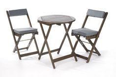 Greenhurst Solid Acacia 2 Seater Patio Set with Round Bistro Table in Grey and matching Grey Padded Cushions: Amazon.co.uk: Garden & Outdoors