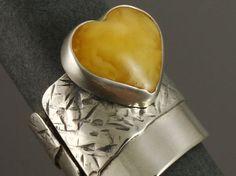 amber heart ring by TaktuMartaKepska on Etsy